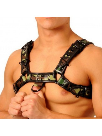 Leather chest harness - camo