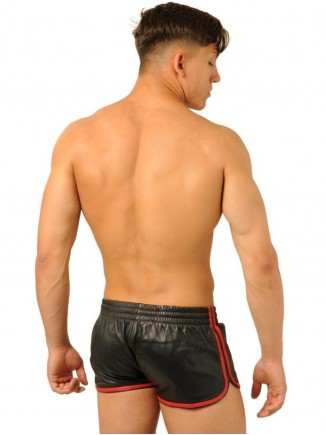 FIST LEATHER SHORTS • BLACK - RED