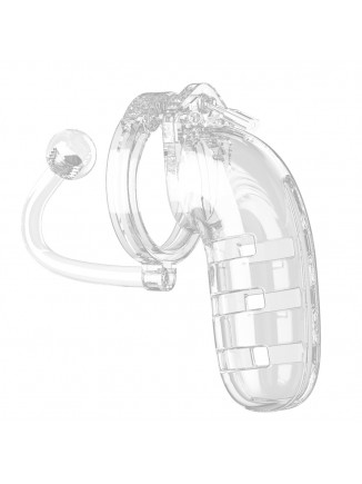 Man Cage 12  Male 5.5 Inch Clear Chastity Cage With Anal Plug