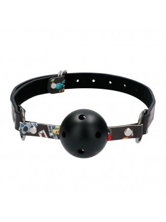 Breathable Ball Gag With Printed Leather Straps