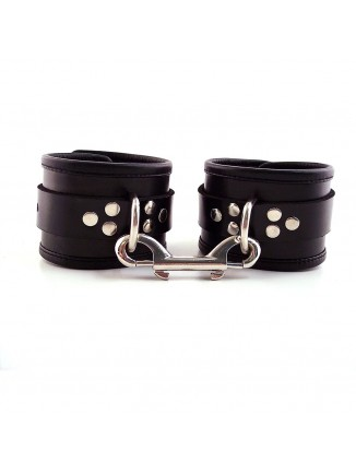 Black Leather Ankle Cuffs With Piping