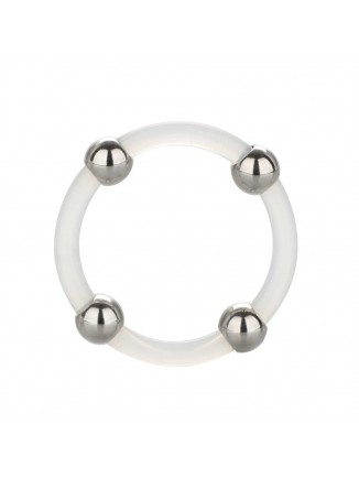 Steel Beaded Silicone Cock Ring XL